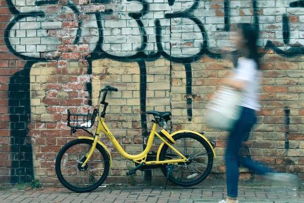 Image of shared bicycle service bike parked in front of wall