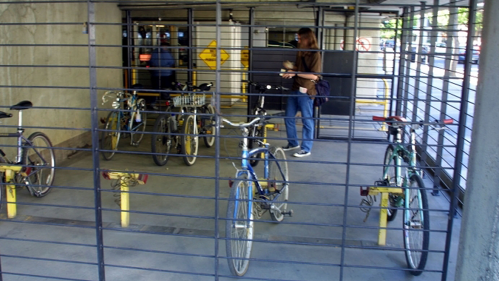 Bicycles parked in employee bike parking lot